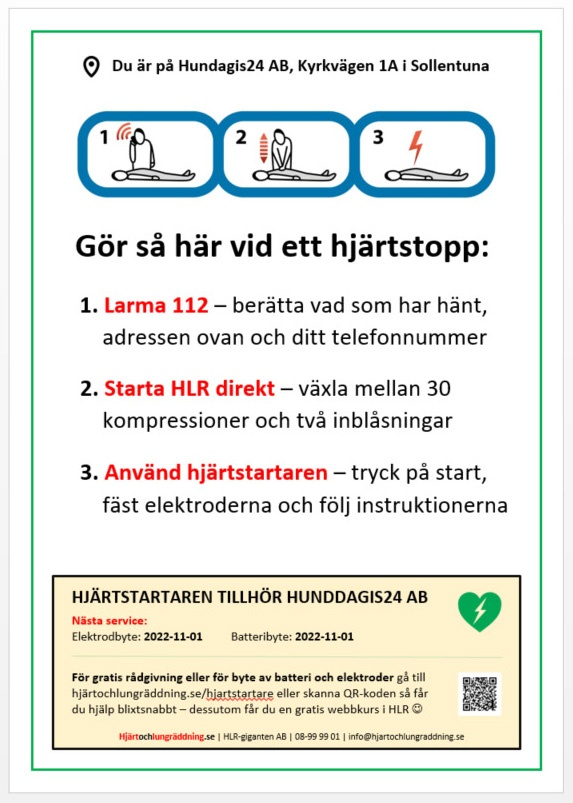 Affisch hjärtstartare - så gör du HLR steg-för-steg - och dessutom har du full koll på nästa service på hjärtstartaren