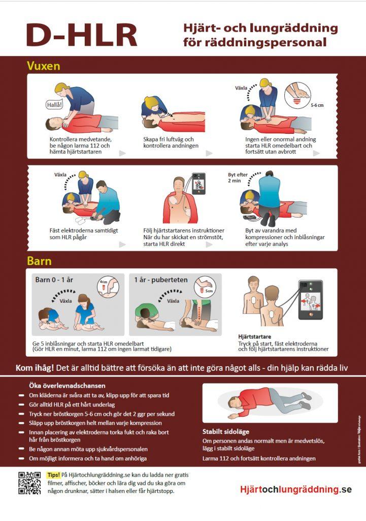 Gratis affisch handlingsplan plansch D-HLR Hjärtochlungräddning.se