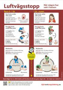 Gratis affisch Luftvägsstopp sätta i halsen, handlingsplan, plansch - hjärt- och lungräddning