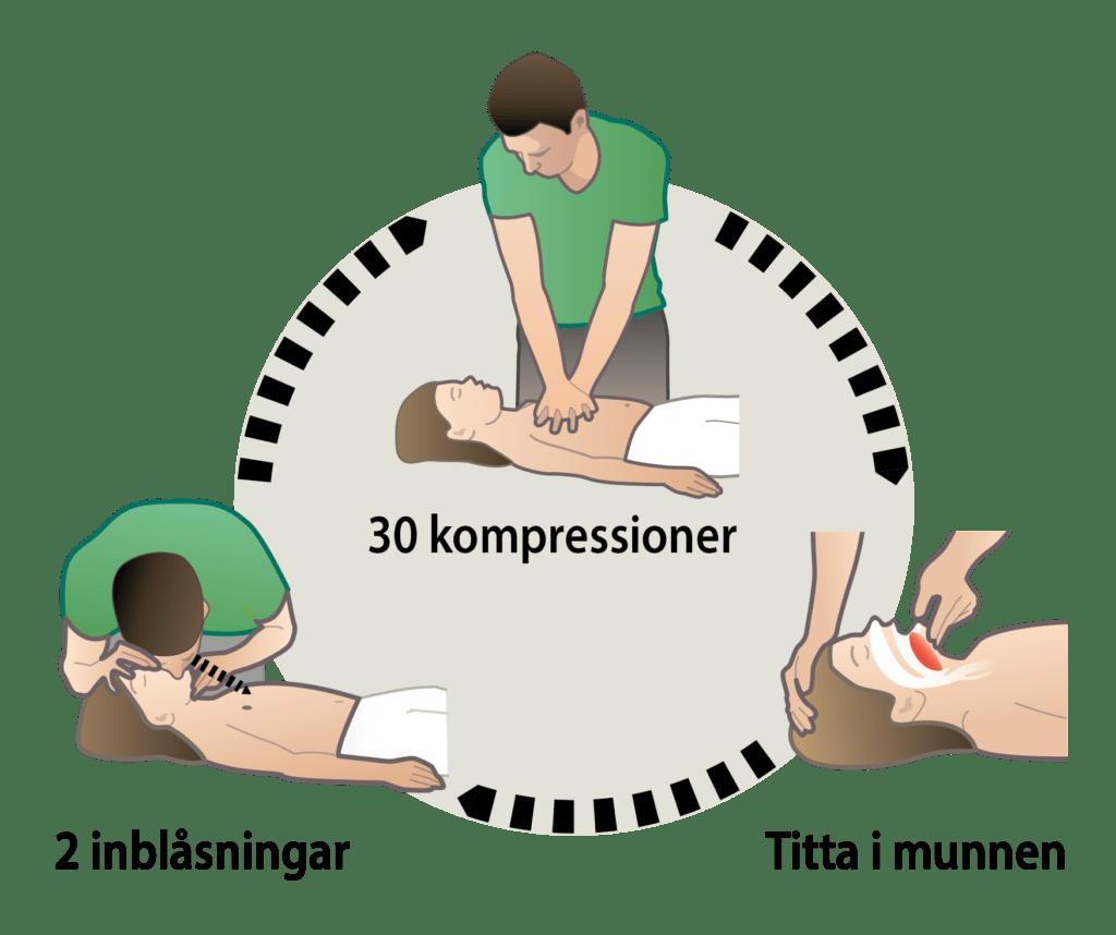 Barn sätter i halsen (luftvägsstopp) och blir medvetslös - starta HLR hjärt- och lungräddning
