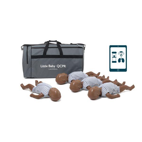 HLR-docka Little Baby QCPR 4-pack inklusive väska mörk hud