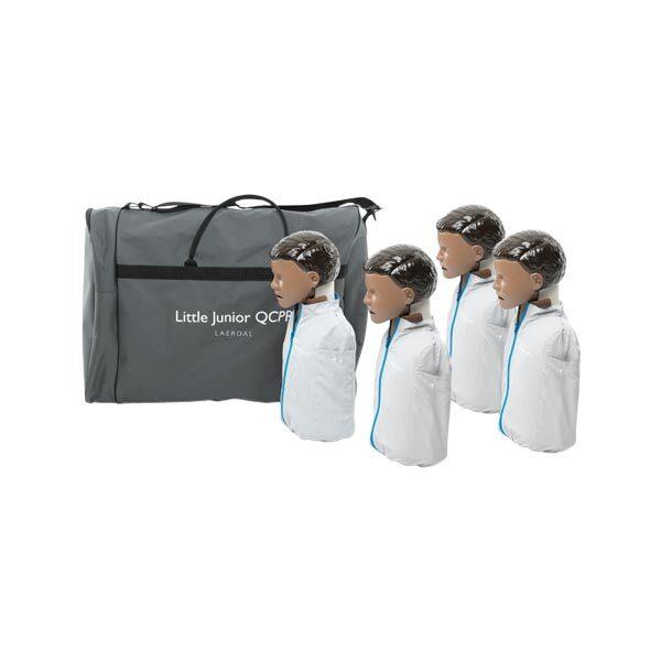 HLR-docka Little-Junior QCPR inklusive väska med mörk hud 4-pack