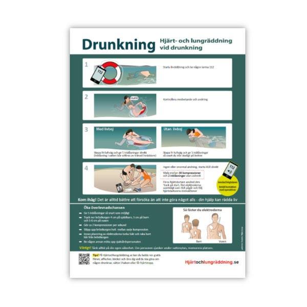 Handlingsplan HLR vid drunkning affisch drunkning barn och vuxen storlek A4