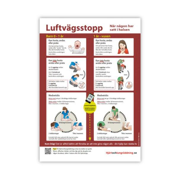 Handlingsplan Luftvägsstopp affisch sätta i halsen barn och vuxen storlek A4