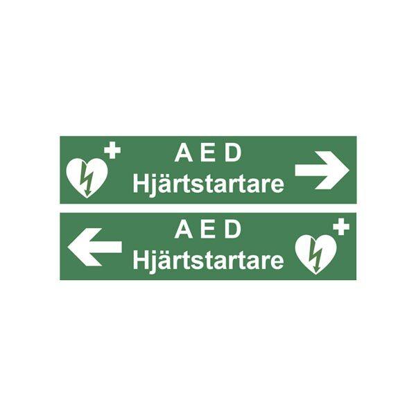 Skylt AED Hjärtstartare med pil 400 x 96 mm