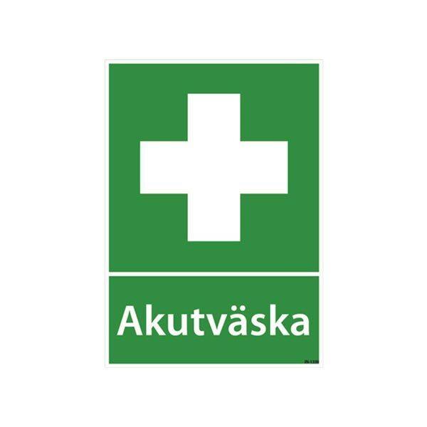 Skylt Akutväska plast A4