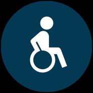Entré, entréhall och toalett anpassad för dig som är rullstolsburen