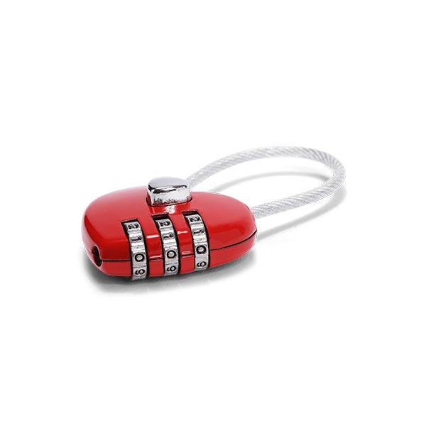 Kombinationslås med vajer rött hjärta
